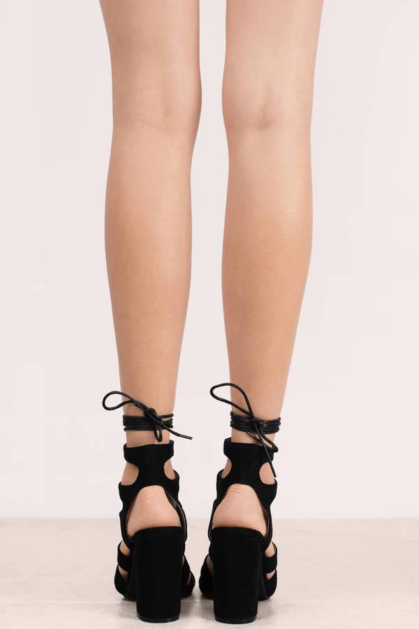 fa3519e83be Black Heels - Strappy Heels - Lace Up Heels - Chunky Heels - S  111 ...