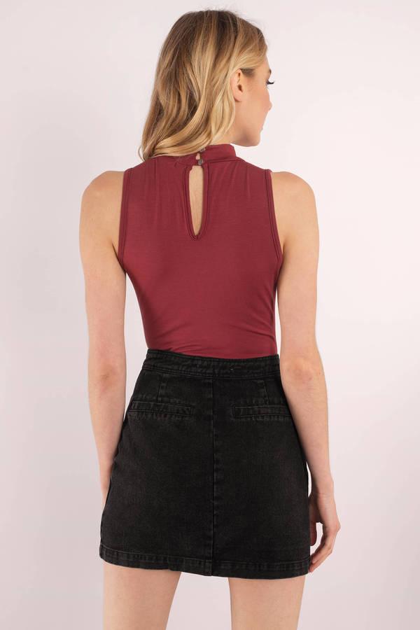 Cute Black Skirt - Button Up Skirt - Black Skirt - $58.00