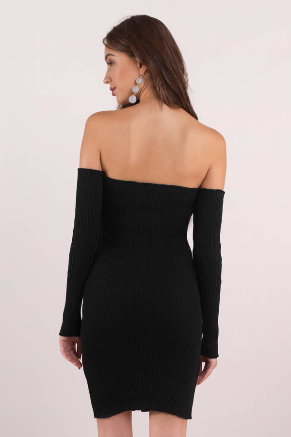 9d2c130b3b24 Black Bodycon Dress - Black Zip Front Dress - Black Off Shoulder ...