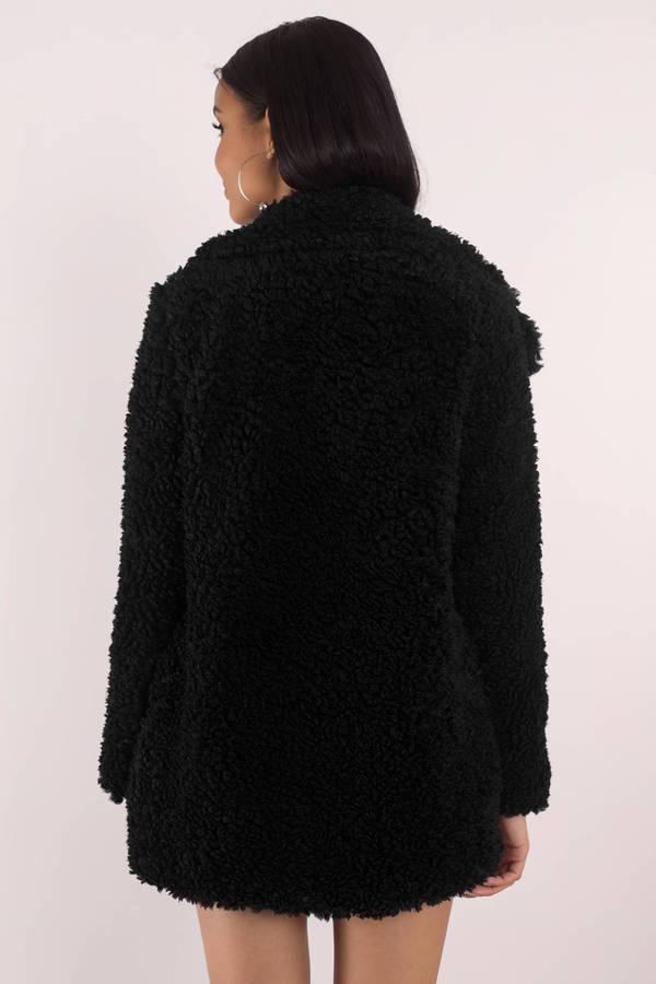 c11ed31af2d2 Warm Black Audrey 3+1 Jacket - Oversized Faux Fur Coat - Black Teddy ...