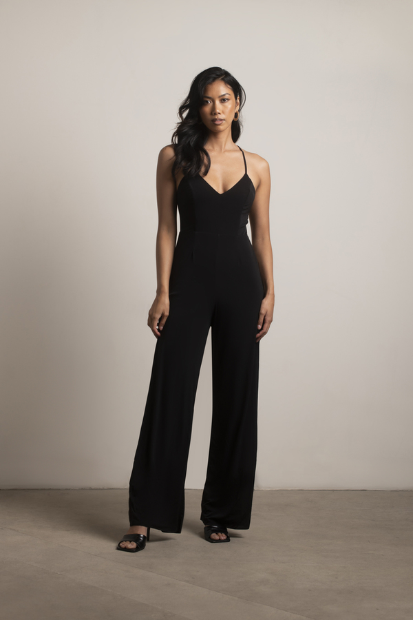 Black Jumpsuit - Wide Leg Jumpsuit - Black Sleeveless ...