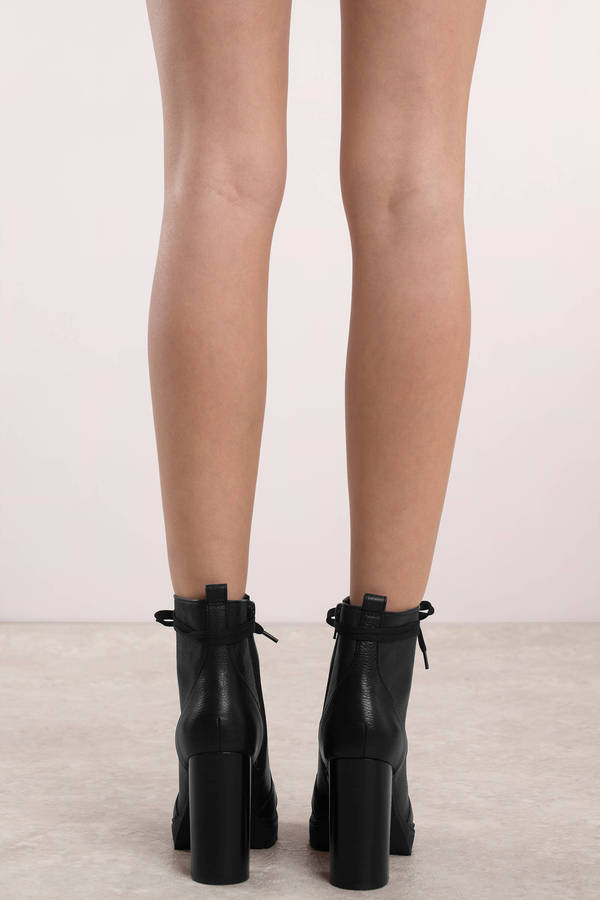 92e8f11fa05 ... Steve Madden Steve Madden Laurie Black Leather Lace Up Heeled Booties