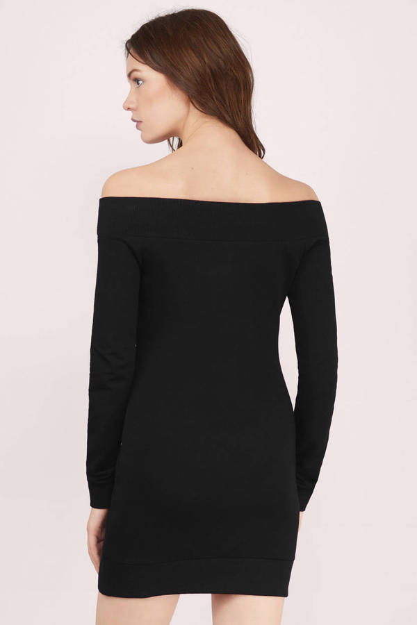 Cheap Black Day Dress - Long Sleeve Dress - $64.00