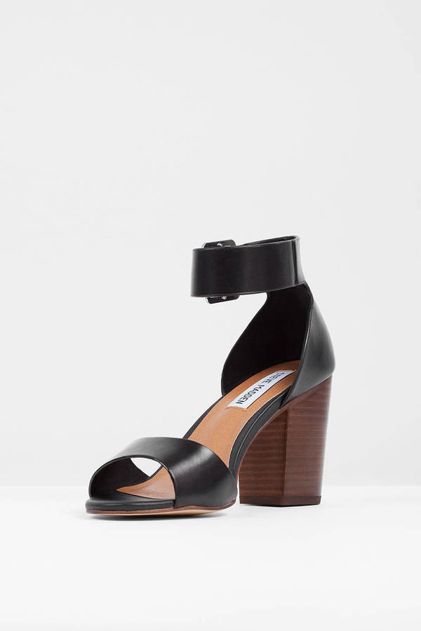 Black Leather Heels - Black Heels - Sandals Heels - $100.00