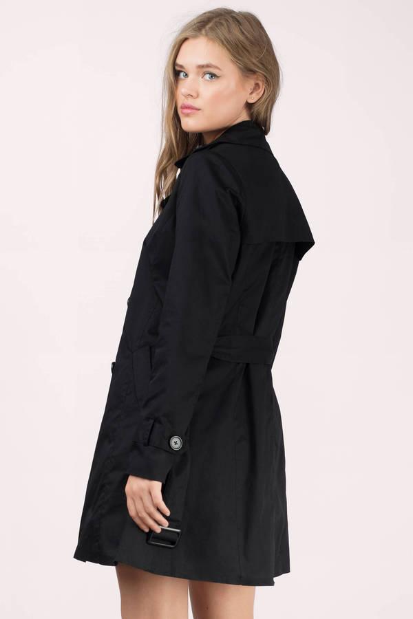 Black Coat Waist Tie Coat Trench Coat Black Trench