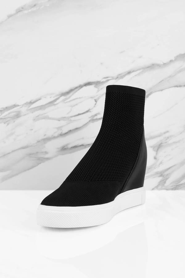 52fea387958 Black Steve Madden Sneakers - Wedge Sneakers - Black Mesh Sneakers ...