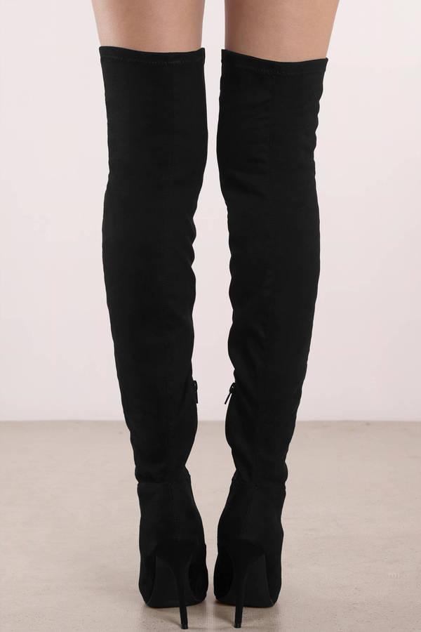0a4eddccda8c9 Black Boots - Stiletto Heeled Boots - Black Thigh High Boots - C  57 ...