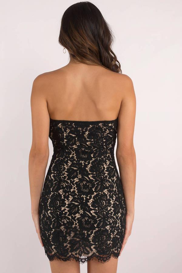 Black Bodycon Dress Strapless Mini Dress Black Lace Bodycon