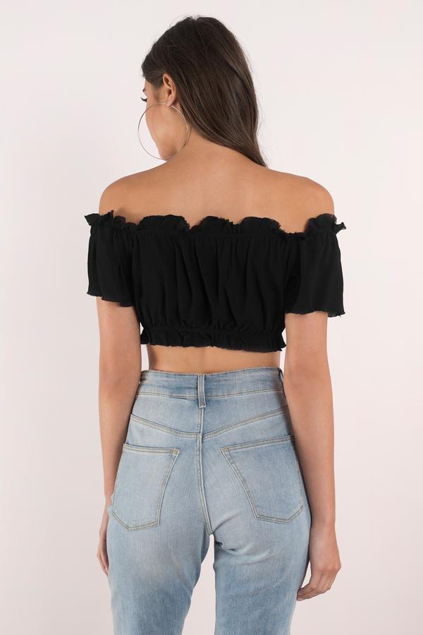 36886a047a6 Cute Black Top - Off Shoulder Top - Black Top - Black Crop Top - $11 ...