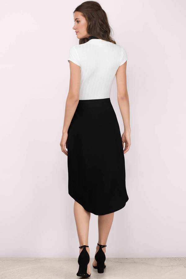 Cute Black Skirt - High Low Skirt - Midi Skirt - Black Skirt - $48