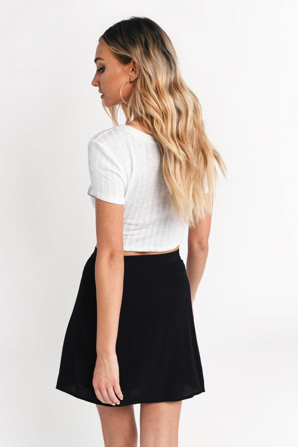 068fc0cb388e Black Skirt - Side Button Skirt - Black Skater Skirt - $21 | Tobi US