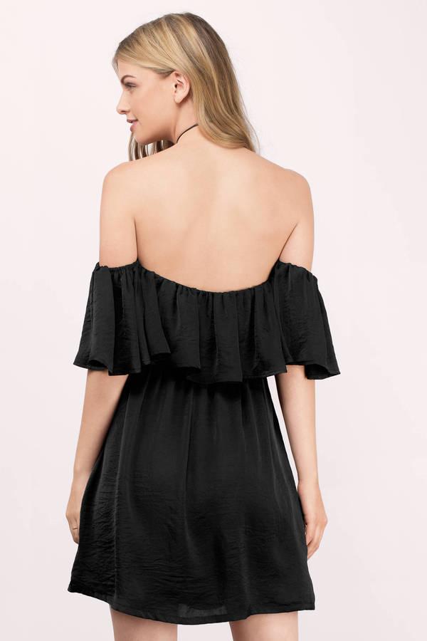 63a2a8a528ee15 Trendy Black Shift Dress - Off Shoulder Dress - Shift Dress - € 17 ...