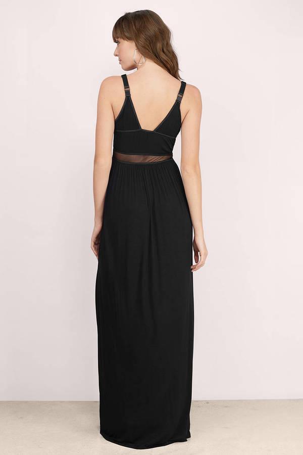 Black and mesh maxi dress