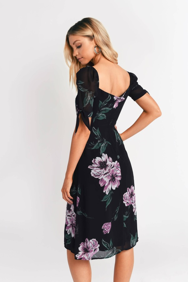 8de3debe4fe5 Black Midi Dress - Floral Print Midi Dress - Black Print Midi Dress ...