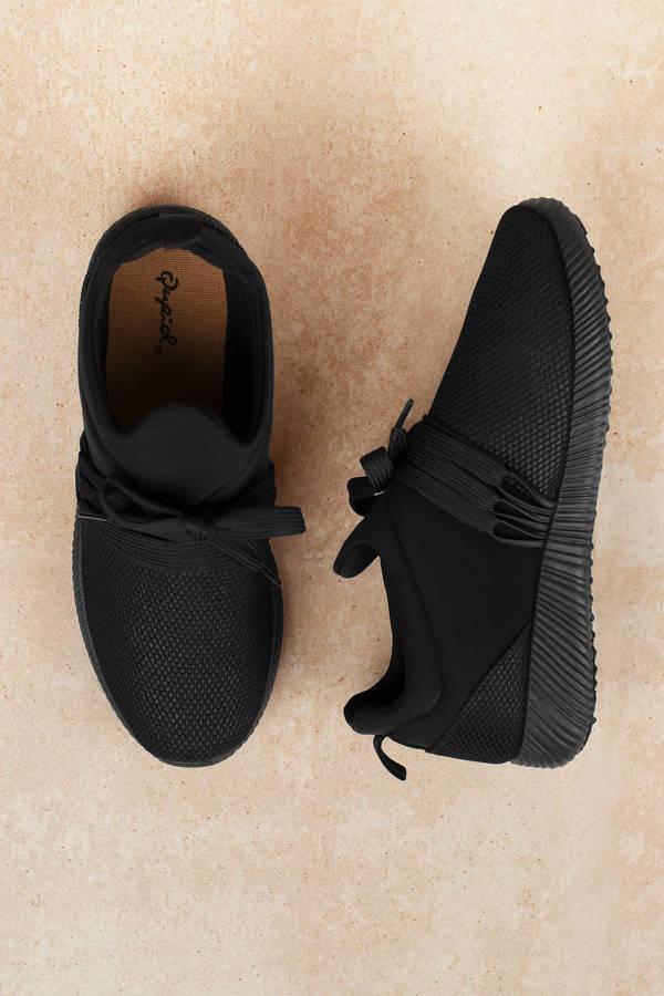 53837188ded9 Black Sneakers - Knit Sneakers - Black Trendy Athletic Shoes - £23 ...