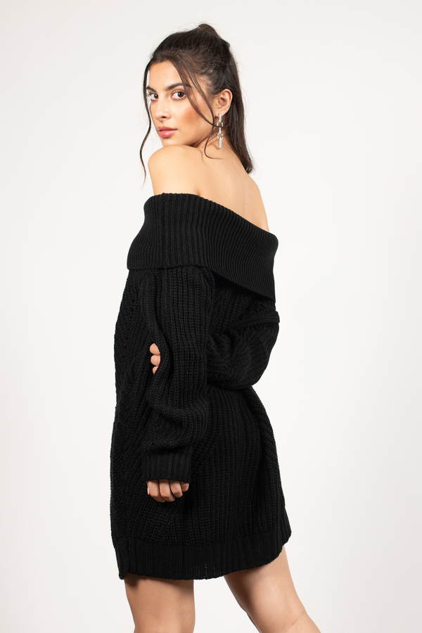 Cute Black Dress - Off Shoulder Dress - Long Sleeve Dress - $31 ...