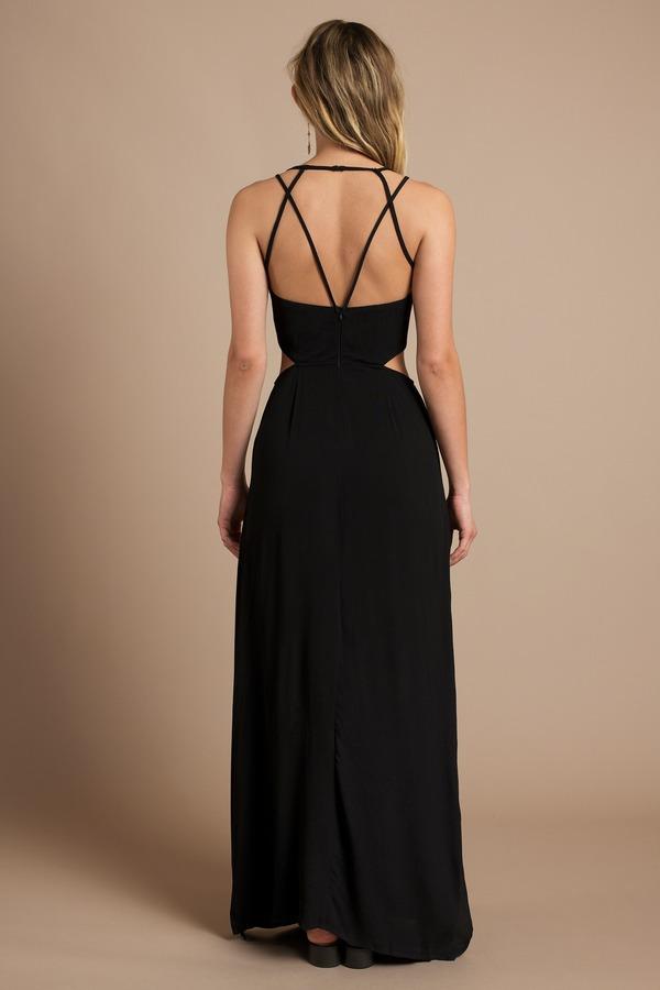 Black Dress Strappy Dress Cut Out Dress Sleeveless Maxi Dress 21 Tobi Us