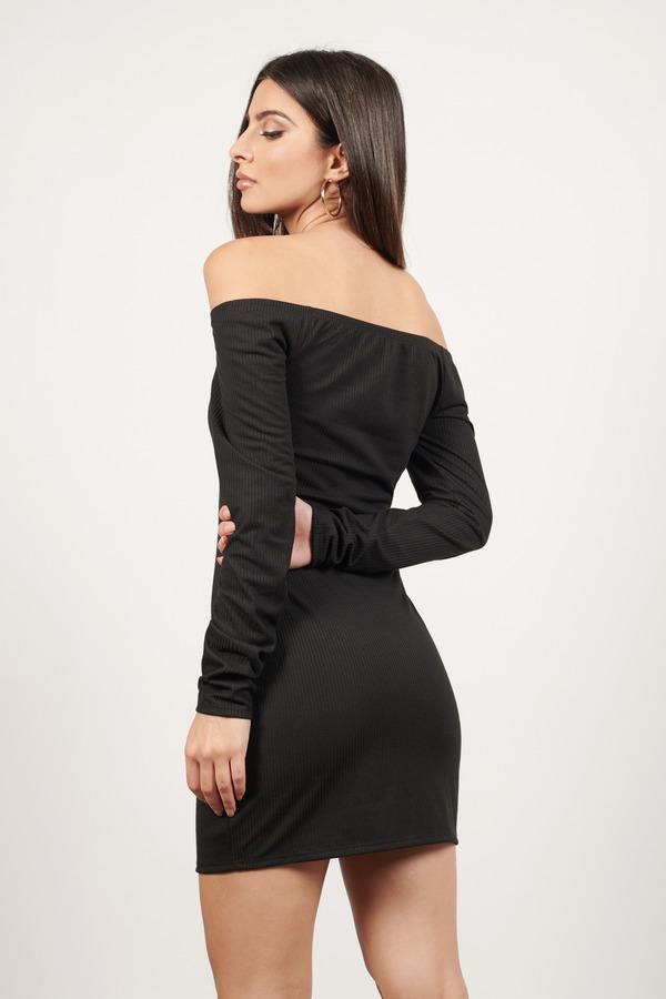 Cute Black Bodycon Dress - Off Shoulder Dress - $52.00
