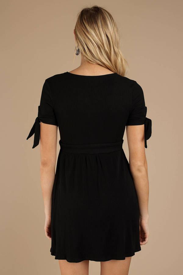 a05cbfc655b Black Skater Dress - Button Up Dress - Black Short Sleeve Dress ...