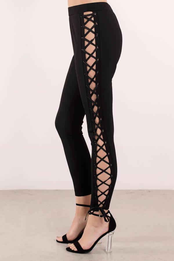 Trendy Black Pants Lace Up Pants Skinny Pants Black