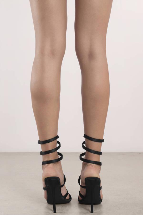996308af002 Black Heels - Lace Up Heels - Leg Wrap Sandal - Stylish Heels -  25 ...