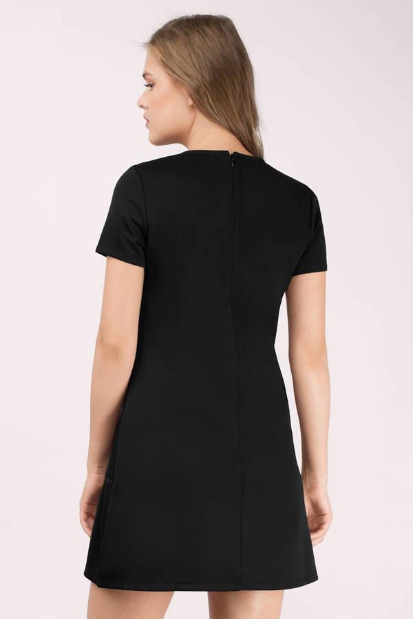 Cheap Black Shift Dress - Short Sleeve Dress - $21.00