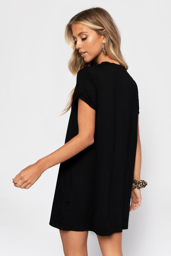 0f8ef424e91ce4 Sexy Black Dress - Plunging Neckline - Short Sleeve Dress - NZ$ 26 ...
