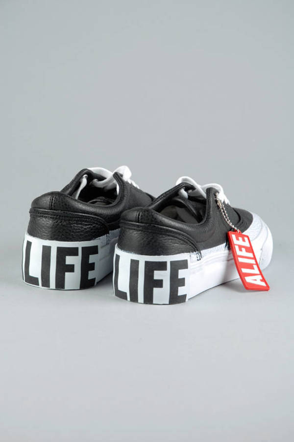 new style adc31 11267 ... Alife Black Public Outrage Tumbled Leather Sneakers ...