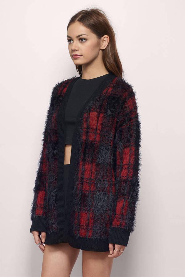... Diem Black & Red Plaid Knitted Cardigan ... - Cute Black & Red Cardigan - Knitted Cardigan - $17.00