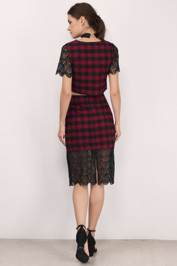 Trendy Black & Red Skirt - Lace And Plaid Skirt - $9.00
