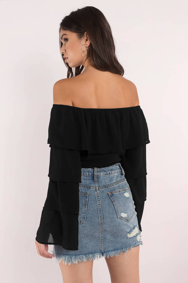 92becbd953371 Cute Black Crop Top - Off Shoulder Crop Top - Ruffled Crop Top - S ...
