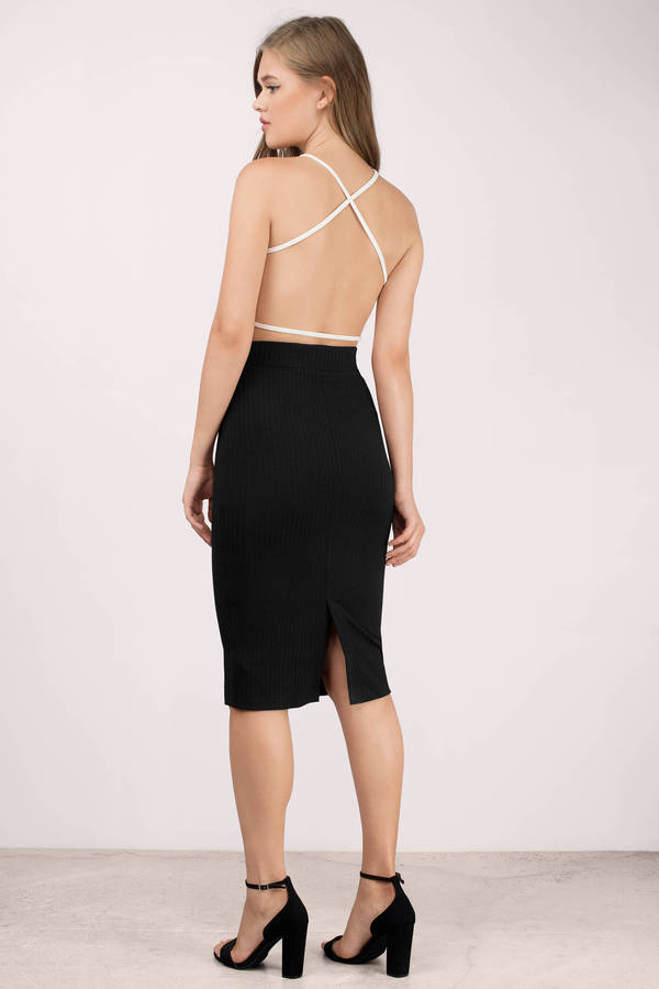 Black Skirt - Back Slit Skirt - Hunter Black Pencil Skirt - $6.00