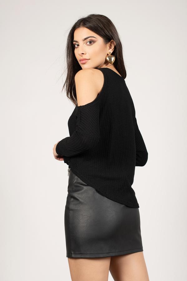 7b6d01ae54 Cute Black Top - Cold Shoulder Top - Black Front Tie Top -  23