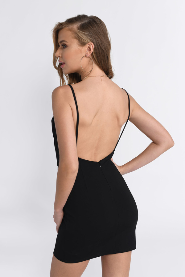 067eda086d Sexy Black Bodycon Dress - Deep V Dress - Black Dress - Bodycon ...