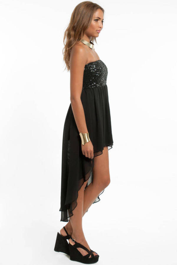 Sari Sequined Hi-Low Dress