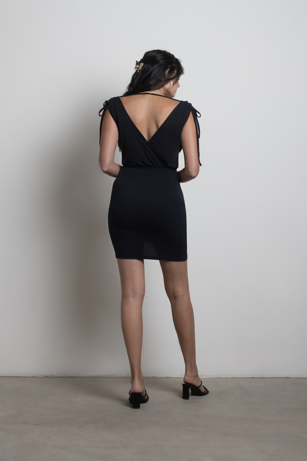 f870f0600a Sexy Black Bodycon Dress - Ruched Mini Dress - Black Day Dress - £30 ...