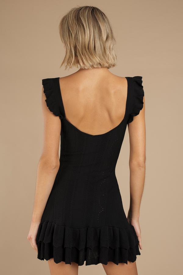 Black Dress O Ring Zip Up Dress Black Ruffled Dress 43 Tobi Us