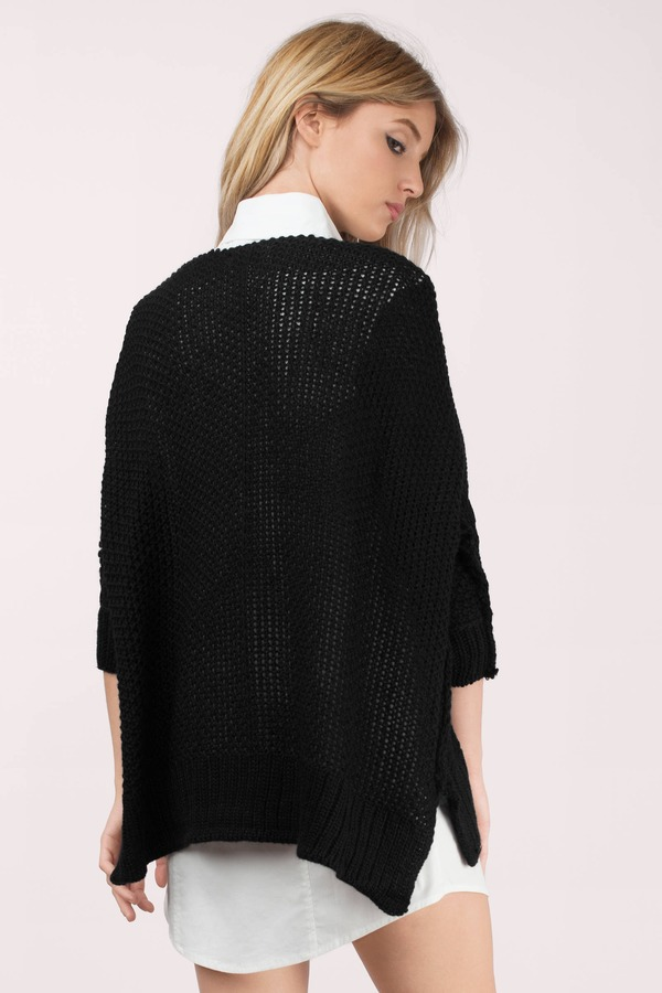 Cheap Black Sweater - V Neck Sweater - Knitted Sweater - Black ...