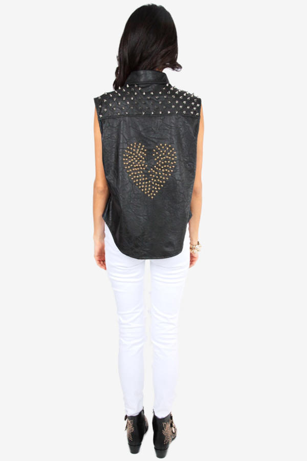 Reverse Spikey Heartbreak Vegan Leather Top