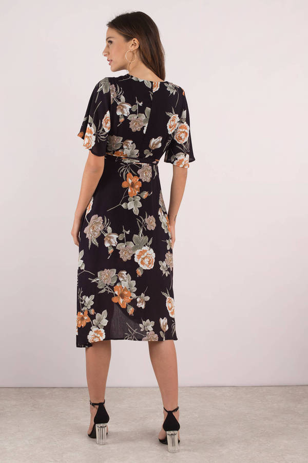 b7971ed9753 Sexy Black Midi Dress - Wrap Dress - Short Sleeve Dress - Floral ...