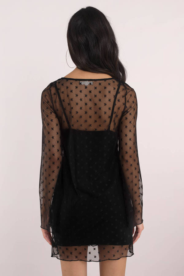 9843c12ea85 Black Shift Dress - Mesh Dress - Black Long Sleeve Dress - Star ...