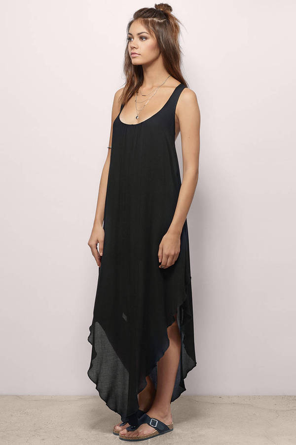 Cheap Black Maxi Dress - Black Dress - U Neck Dress - $28.00