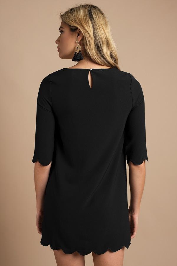 Trendy Black Shift Dress Scalloped Dress Half Sleeve Black Dress