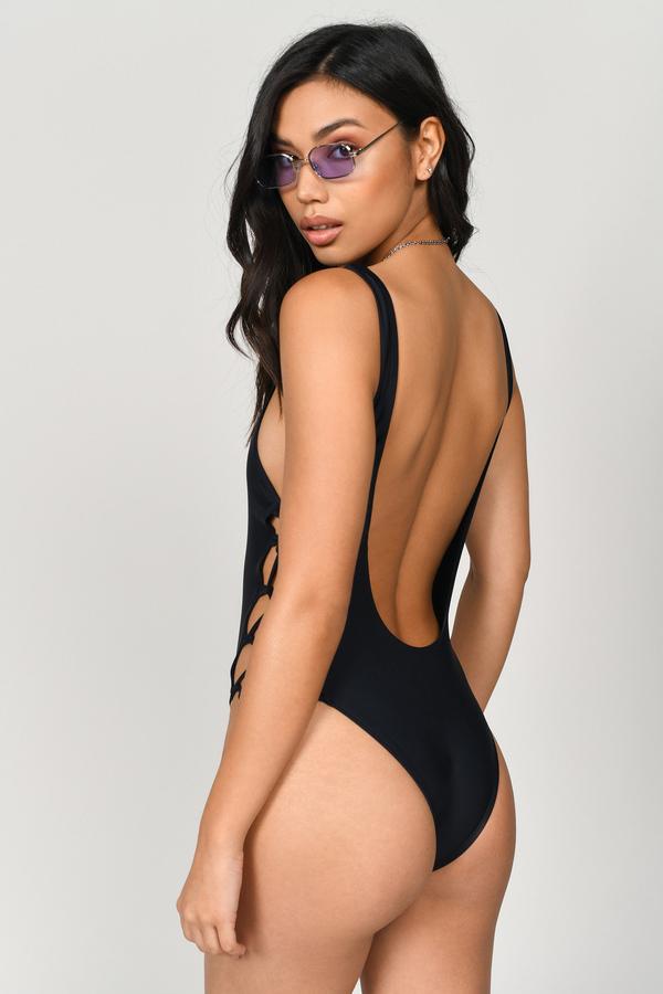 4b9ecedf7b887b Cute Black Swimwear - Lace Up Swimwear - Black One Piece - C$ 18 ...