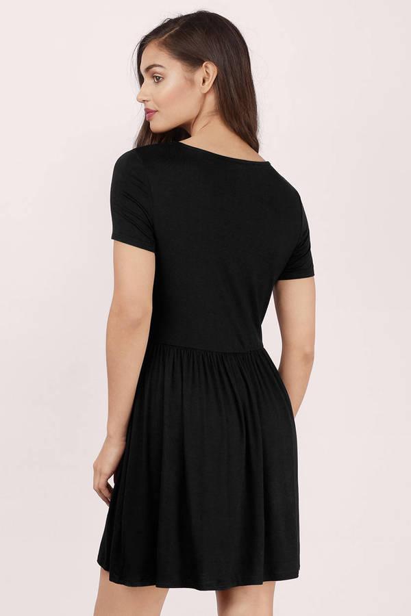 Cute Black Skater Dress - Short Sleeve Dress - Skater Dress - $8