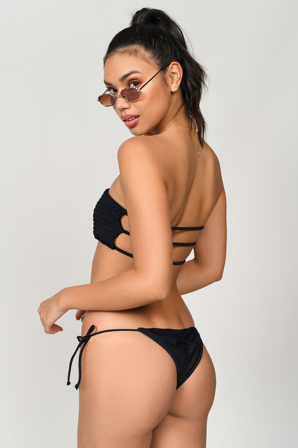 Bikini Bottoms High Waisted Cheeky Swim Black Thong