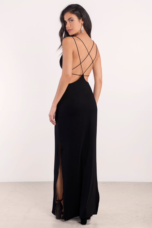 Sexy Black Maxi Dress Open Back Dress Prom Dress Maxi Dress