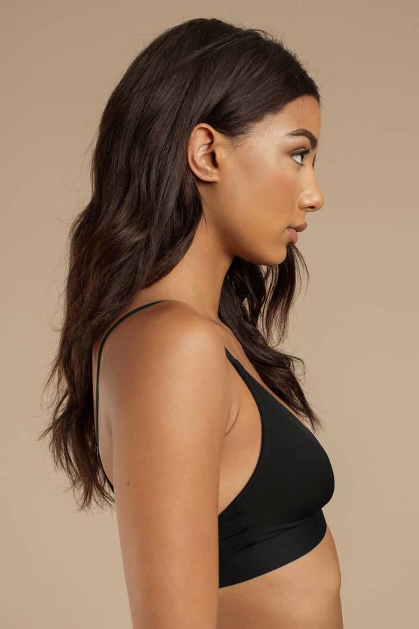 12e6dac8b66d76 ... Calvin Klein Calvin Klein Tonal Black Logo Unlined Triangle Bralette