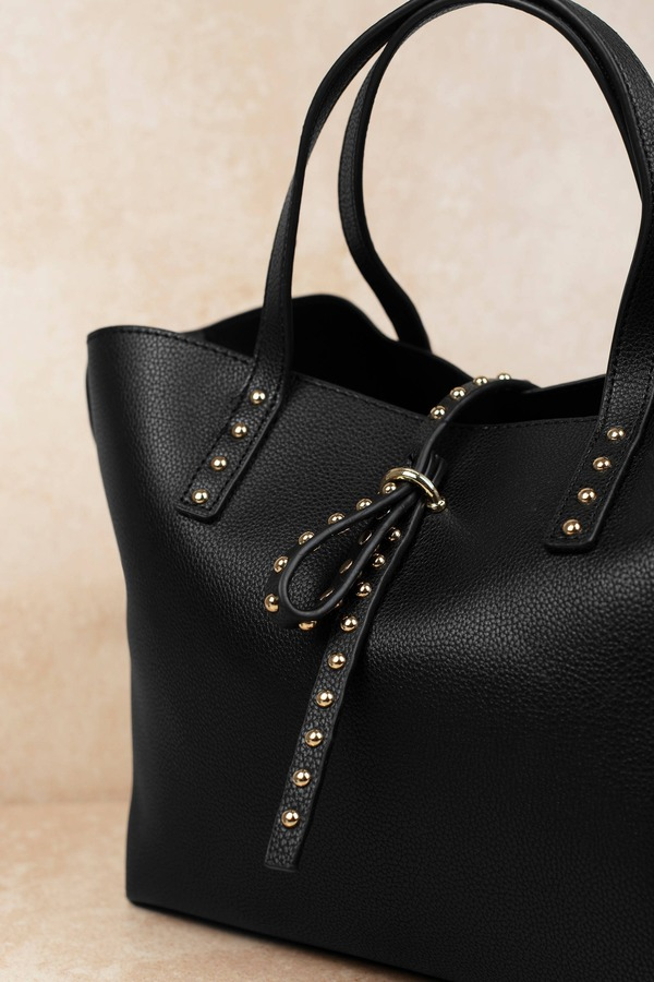 Like Dreams Toni Black Studded Tote Bag