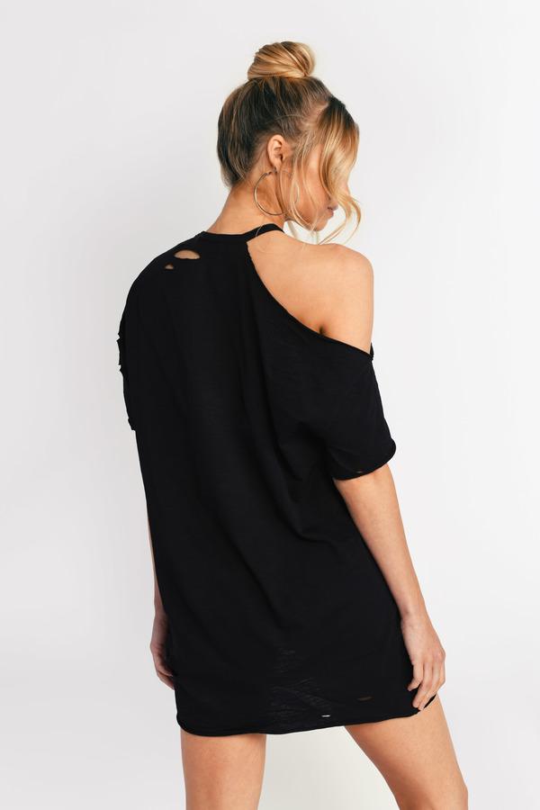 6f2a563256a2eb Black Shift Dress - Distressed T Shirt Dress - Black Cold Shoulder ...